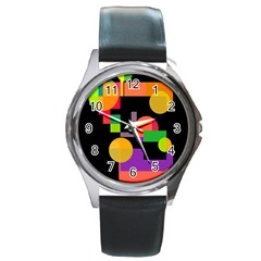 Colorful Abstraction Round Metal Watch by Valentinaart
