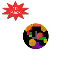 Colorful Abstraction 1  Mini Buttons (10 Pack)  by Valentinaart