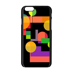 Colorful Abstraction Apple Iphone 6/6s Black Enamel Case by Valentinaart