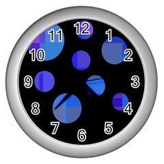 Blue Circles  Wall Clocks (silver)  by Valentinaart