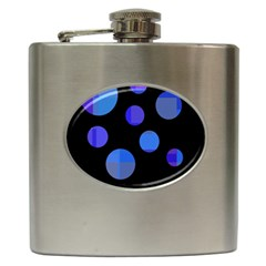 Blue Circles  Hip Flask (6 Oz) by Valentinaart