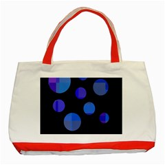 Blue Circles  Classic Tote Bag (red) by Valentinaart