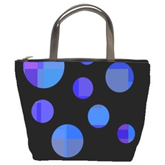 Blue Circles  Bucket Bags by Valentinaart