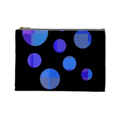 Blue Circles  Cosmetic Bag (large)  by Valentinaart