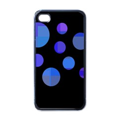 Blue Circles  Apple Iphone 4 Case (black) by Valentinaart