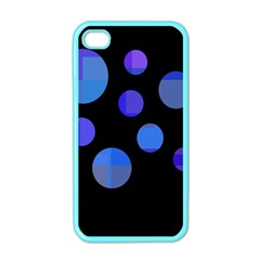 Blue Circles  Apple Iphone 4 Case (color) by Valentinaart