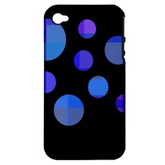 Blue Circles  Apple Iphone 4/4s Hardshell Case (pc+silicone) by Valentinaart
