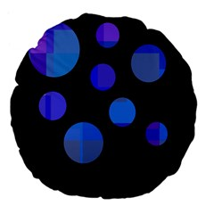 Blue Circles  Large 18  Premium Flano Round Cushions by Valentinaart