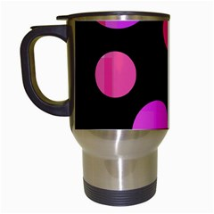 Pink Abstraction Travel Mugs (white) by Valentinaart