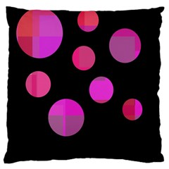 Pink Abstraction Large Cushion Case (two Sides) by Valentinaart