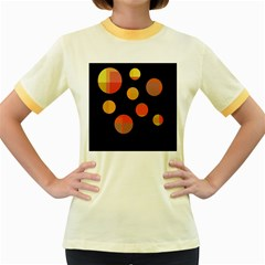 Orange Abstraction Women s Fitted Ringer T Shirts