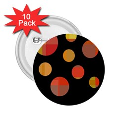 Orange Abstraction 2 25  Buttons (10 Pack)