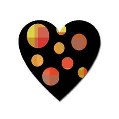 Orange Abstraction Heart Magnet by Valentinaart