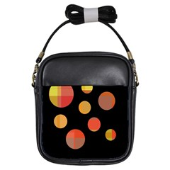 Orange Abstraction Girls Sling Bags by Valentinaart