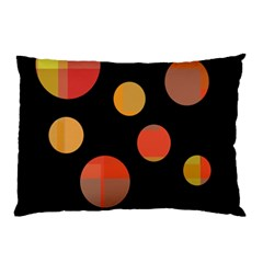Orange Abstraction Pillow Case (two Sides) by Valentinaart