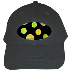 Green Abstract Circles Black Cap