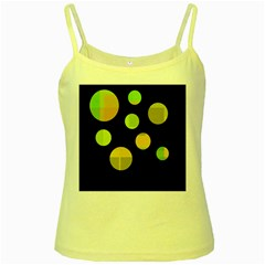 Green Abstract Circles Yellow Spaghetti Tank by Valentinaart