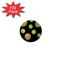 Green Abstract Circles 1  Mini Buttons (100 Pack)  by Valentinaart