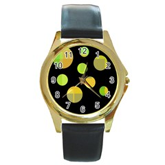 Green Abstract Circles Round Gold Metal Watch by Valentinaart