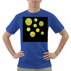 Green Abstract Circles Dark T Shirt by Valentinaart