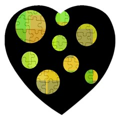 Green Abstract Circles Jigsaw Puzzle (heart) by Valentinaart