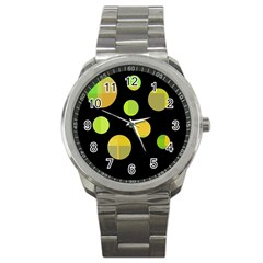 Green Abstract Circles Sport Metal Watch by Valentinaart