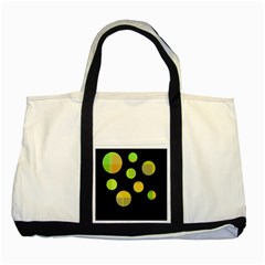 Green Abstract Circles Two Tone Tote Bag by Valentinaart