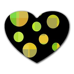 Green Abstract Circles Heart Mousepads by Valentinaart