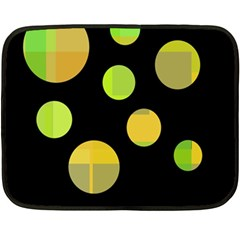 Green Abstract Circles Double Sided Fleece Blanket (mini)  by Valentinaart