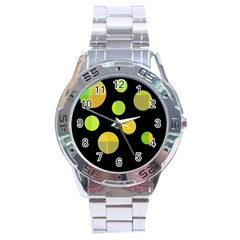Green Abstract Circles Stainless Steel Analogue Watch by Valentinaart