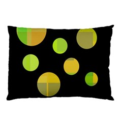 Green Abstract Circles Pillow Case (two Sides) by Valentinaart
