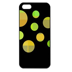 Green Abstract Circles Apple Iphone 5 Seamless Case (black) by Valentinaart