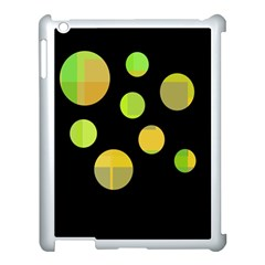 Green Abstract Circles Apple Ipad 3/4 Case (white) by Valentinaart