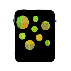 Green Abstract Circles Apple Ipad 2/3/4 Protective Soft Cases by Valentinaart