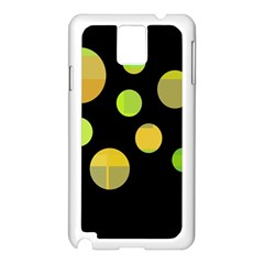 Green Abstract Circles Samsung Galaxy Note 3 N9005 Case (white) by Valentinaart