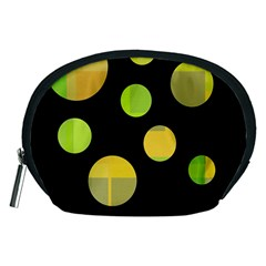 Green Abstract Circles Accessory Pouches (medium)  by Valentinaart