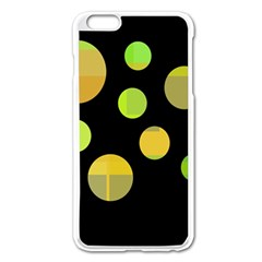 Green Abstract Circles Apple Iphone 6 Plus/6s Plus Enamel White Case by Valentinaart