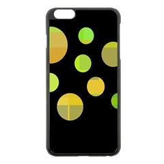 Green Abstract Circles Apple Iphone 6 Plus/6s Plus Black Enamel Case by Valentinaart