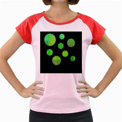Green Circles Women s Cap Sleeve T Shirt by Valentinaart