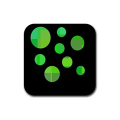 Green Circles Rubber Square Coaster (4 Pack)  by Valentinaart
