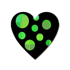 Green Circles Heart Magnet by Valentinaart