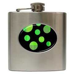 Green Circles Hip Flask (6 Oz) by Valentinaart