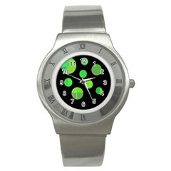 Green Circles Stainless Steel Watch by Valentinaart