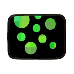 Green Circles Netbook Case (small)  by Valentinaart