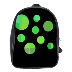Green Circles School Bags(large)  by Valentinaart
