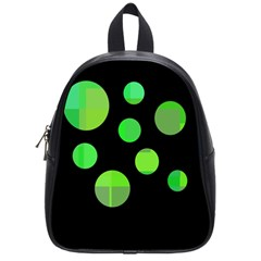 Green Circles School Bags (small)  by Valentinaart