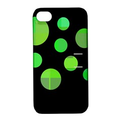 Green Circles Apple Iphone 4/4s Hardshell Case With Stand by Valentinaart