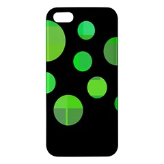 Green Circles Apple Iphone 5 Premium Hardshell Case by Valentinaart