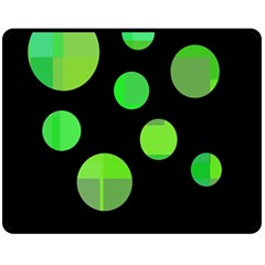 Green Circles Double Sided Fleece Blanket (medium)  by Valentinaart