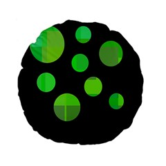 Green Circles Standard 15  Premium Flano Round Cushions by Valentinaart